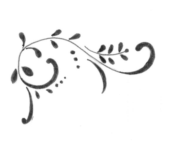 This Was A Sketch Of A Simple Scroll Decoration That Appeared In The Corners  Of The Certificate.